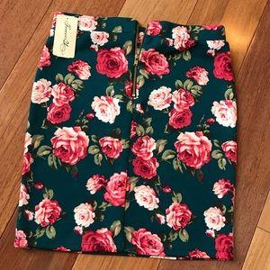 F21 hunter green floral gold zip stretch skirt